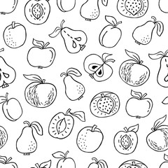 Seamless pattern with hand drawn fruit