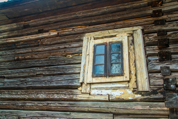 Old wooden house window