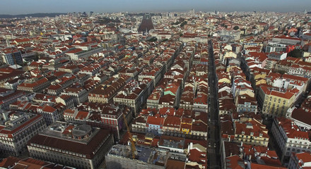 Aerial View of Baixa Chiado in Lisbon, Portugal