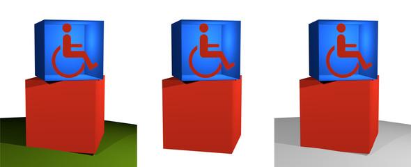 3d-Illustration, Informations-Würfel, Rollstuhlfahrer
