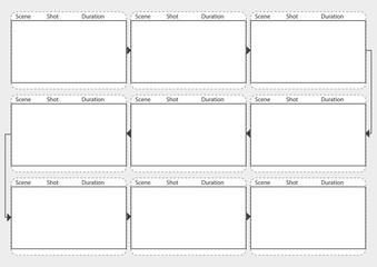 Professional of film storyboard mockup.  Template for easy to present the process of story. A4 design of paper to fit for print out. Vector illustration.