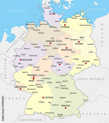 Map Of Germany With Cities.Map Of Germany With Cities And Provinces In Pastel Colors Stock