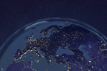 Planet Earth from space showing Europe in night with enhanced bump, 3D illustration, Elements of this image furnished by NASA