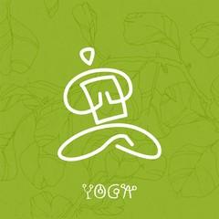 yoga button symbol icon circle green for website banner logo
