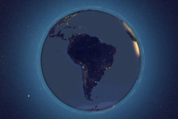 Planet Earth from space showing South America in night with enhanced bump, 3D illustration, Elements of this image furnished by NASA