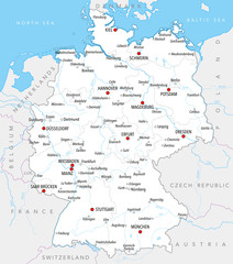 Free Printable Map Of Germany.Map Of Germany With Main Cities Provinces And Rivers In Pastel