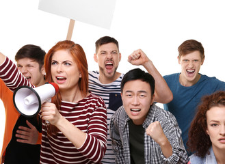 Group of protesting young people on white background