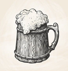 Hand-drawn vintage wooden mug with foam, sketch. Drink, beer, ale symbol. Vector illustration for design menu bar, pub or restaurant