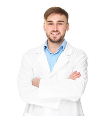 Handsome doctor with crossed hands on white background