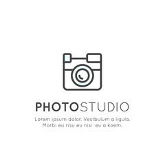 Vector Icon Style Illustration Logo of Photo Studio, Camera Symbol, Shooting, Photoshoot, Isolated Badge