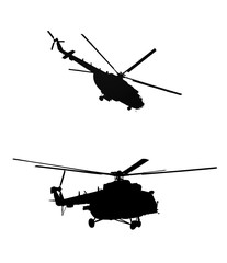 black silhouettes of russian military helicopters Mi-24 and Mi-17 on white background