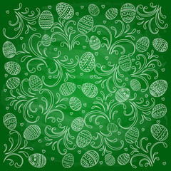 Easter decorative eggs with patterns on green chalkboard background