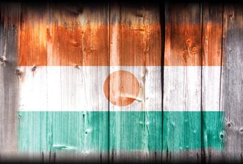 Niger flag on wood