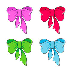 Image of four bright bows and ribbons of pink, red, blue, green