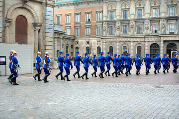 The Royal Guards - changing of the guards at the Royal Castle in Stockholm, Sweden