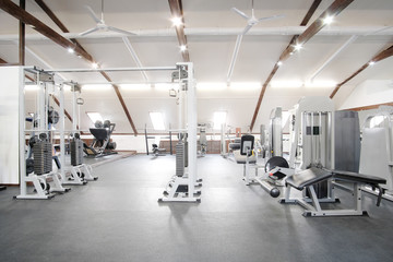 Fitness hall with fitness machines