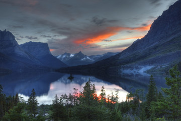 Sunset, St. Mary lake; Glacier National Park; Montana; USAl