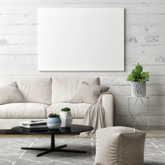 Poster in hipster living room, 3d illustration
