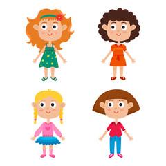 Cartoon girls isolated on white. Characters set of stylish kids.