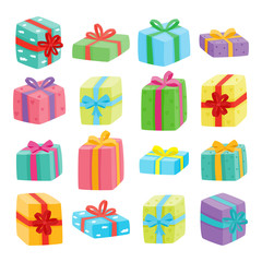 Big presents collection. Vector illustration of cartoon gifts