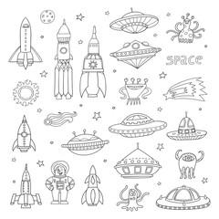 Vector set with cartoon space objects: ufo rockets, astronaut,