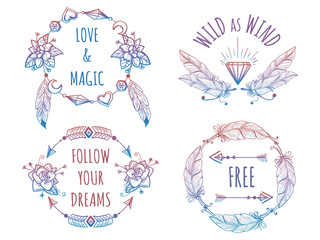 Colorful bohemian banners with arrows flowers and feathers and lettering signs. Vector illustration