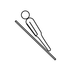 eps 10 vector thin line Ski Jumping sport icon. Winter sport activity pictogram for web, print, mobile. Black athlete sign isolated on gray. Hand drawn competition symbol. Graphic design clip art