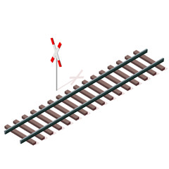 Vector railway in isometric 3d perspective isolated on white background with railway cross sign. Industrial transportation building. Metallic track architecture with frets. Rail with sleepers.