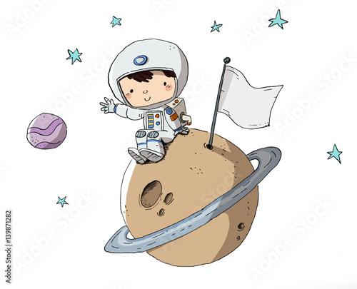 """Niño Astronauta En El Espacio: """"Astronauta, Niño En El Espacio Sentado Sobre Un Planeta"""