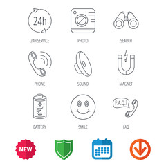 Phone call, battery and faq speech bubble icons. 24h service, photo camera and sound linear signs. Smile and search icons. New tag, shield and calendar web icons. Download arrow. Vector