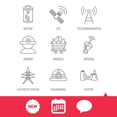 Worker, minerals and engineering helm icons. GPS satellite, electricity station and factory linear signs. Telecommunication, battery icons. New tag, speech bubble and calendar web icons. Vector