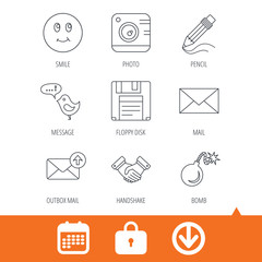 Photo camera, pencil and handshake icons. Inbox e-mail, message speech bubble and smile linear signs. Download arrow, locker and calendar web icons. Vector