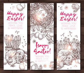 Hand Drawn Happy Easter Vertical Banners. Design In Sketch Monochrome Style