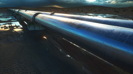 Pipeline transportation oil, natural gas or water in metal pipe. Oil concept. 3d rendering.