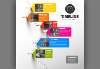Bright Text Tab Timeline Infographic
