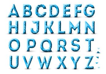 Blue Low Polygon Alphabet