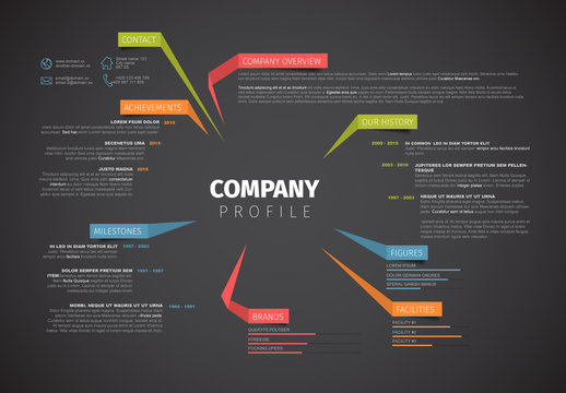 Company Profile Infographic with Folded Tab Element