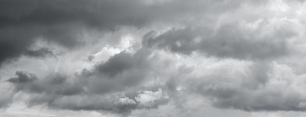 Panorama of a gray gloomy sky.