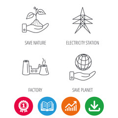 Save nature, planet and factory icons. Electricity station linear sign. Award medal, growth chart and opened book web icons. Download arrow. Vector