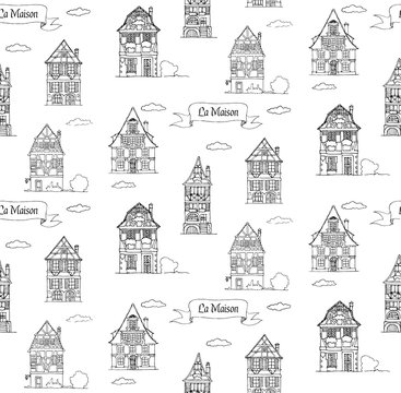 Doodle sketch House in a traditional european style seamless pattern
