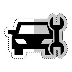 car vehicle silhouette with wrench icon vector illustration design