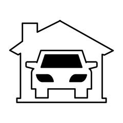car vehicle silhouette in garage icon vector illustration design