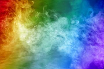 Rainbow colored smoke