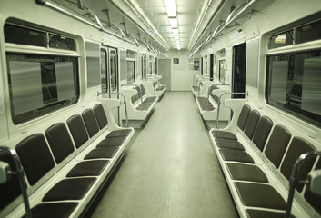 Empty underground railway carriage