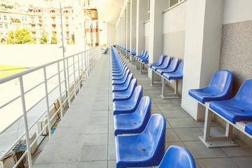 Blue stadium seats