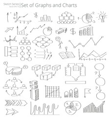 Hand Drawn Graphs and Charts icons Vector Illustration of set of Graphs and Charts icons and doodles. Hand Drawn Sketch Style.