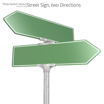 Vector Street Sign. Vector of green two way Street Signs pointing in opposite directions. Blank for Copy Space.