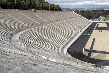Panorama of Panathenaic stadium or kallimarmaro in Athens,  Attica, Greece