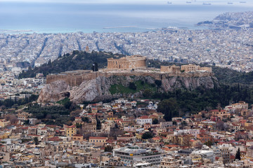 Amazing view of the Acropolis of Athens from Lycabettus hill, Attica, Greece