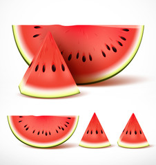 Set of sliced ripe red watermelon in 3d realistic detailed vector isolated in white background. Vector illustration.